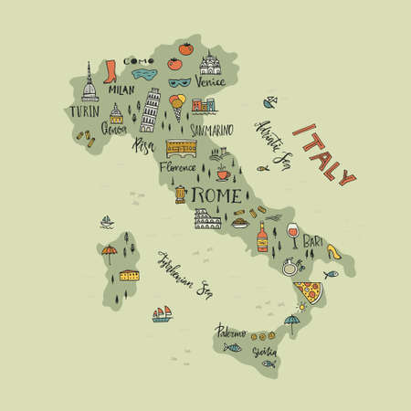 Illustration for Italian map with handdrawn symbols and lettering elements. - Royalty Free Image