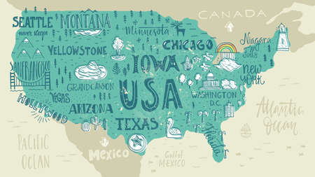 Photo pour Handdrawn illustration of USA map with hand lettering names of states and tourist attractions. Travel to USA concept. American symbols on the map. Creative design element for tourist banner, apparel design, road trip event design. - image libre de droit