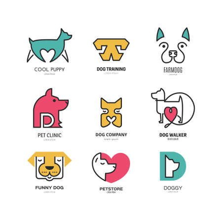 Ilustración de Set of logotypes with dogs. Dog logo collection. Logotype for vet clinic, pet shop, dog training or dog shelter. Set of dog related logo designs. Editable design element for your company. Vector logo template. - Imagen libre de derechos