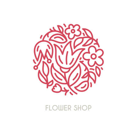 Illustration pour Line style vector logo with beautiful flowers. Perfect logo for flower shop, flower delivery or beauty salon. Branding design element - isolated and easy to use. Organic cosmetic symbol. - image libre de droit