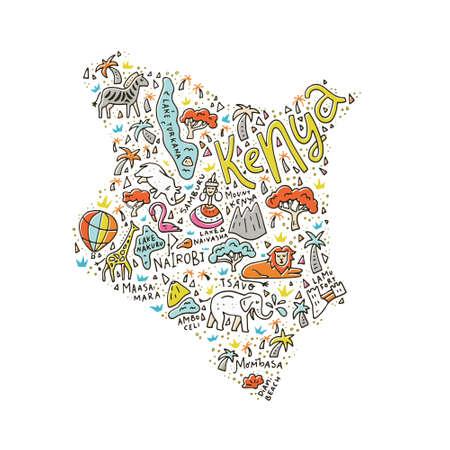 Ilustración de Cartoon map of Kenya with animals, national parks and main tourist attractions. - Imagen libre de derechos