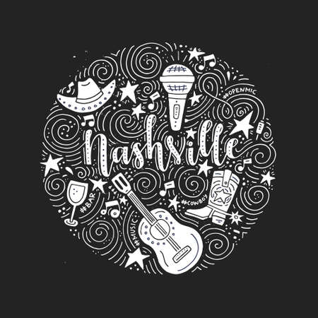 Ilustración de The circle with the Nashville - American city, country music capital of USA vector Illustration. - Imagen libre de derechos