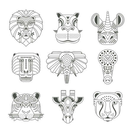Illustration for Animal portraits made in unique geometrical flat style. Vector heads of cute animals. - Royalty Free Image