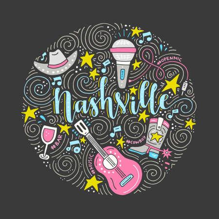 Ilustración de The circle with the Nashville - American city, country music capital of USA. Vector Illustration. - Imagen libre de derechos