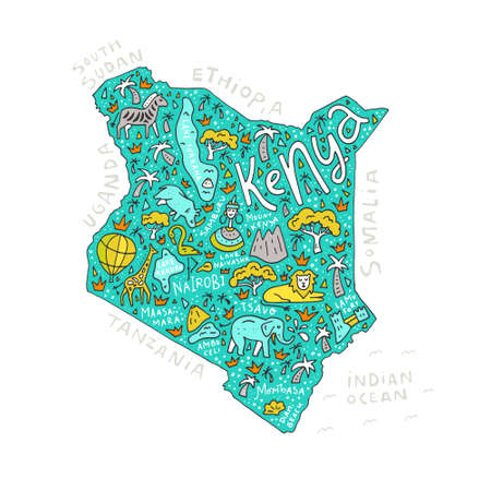 Illustration pour The vector illustration of a Kenya country map with the symbols and  lettering. - image libre de droit