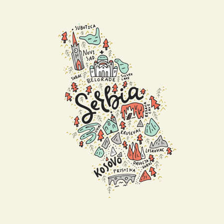 Illustration pour Vector illustration of the map of Serbia made with the captions and landmarks - image libre de droit