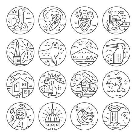 Illustration for Different symbols of an Ecuador made in line style. Vector icons. - Royalty Free Image