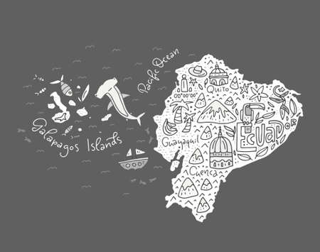 Illustration pour Cartoon map of Ecuador and Galapagos Islands - hand drawn illustration with all main symbols. Vector art. - image libre de droit