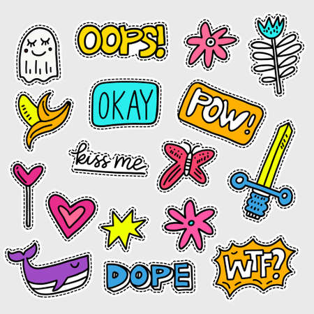 Ilustración de Vector patch set - 80s-90s style design. Isolated illustrations - great for stickers, embroidery, badges. - Imagen libre de derechos
