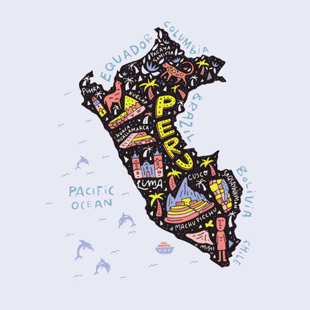 Illustration pour Cartoon map of Peru. - image libre de droit