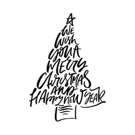 Photo pour We Wish You A Merry Christmas And Happy New Year calligraphy phrase. Handwritten modern lettering in the form of Christmas tree. - image libre de droit