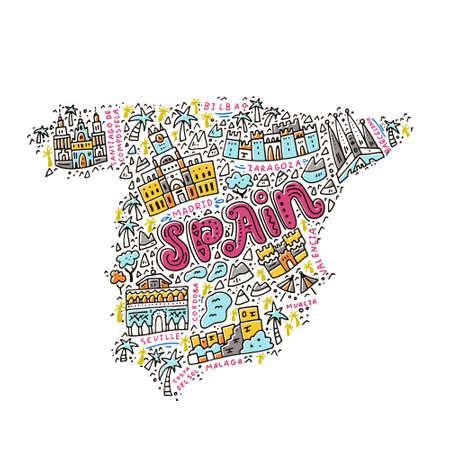 Illustration pour Map of Spain made in cartoon style. - image libre de droit