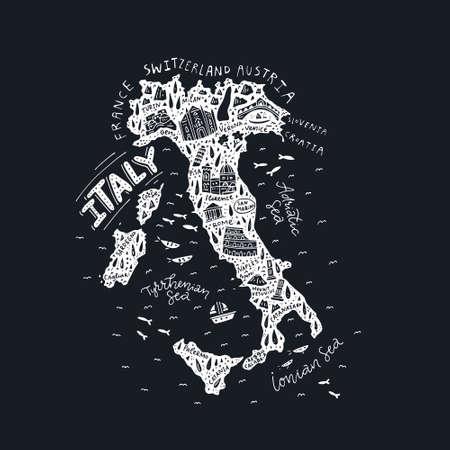 Illustration pour Map of Italy - handdrawn illustration on black background. - image libre de droit