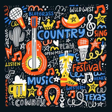 Illustration pour Country music illustration set for postcards or festival banners. Vector handdrawn concept. - image libre de droit
