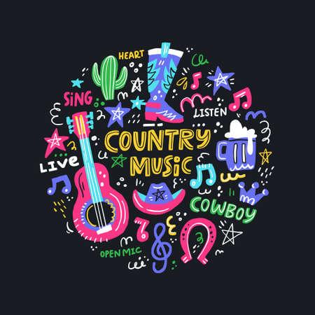 Ilustración de Circle concept with symbols of country music and lettering in the center. - Imagen libre de derechos