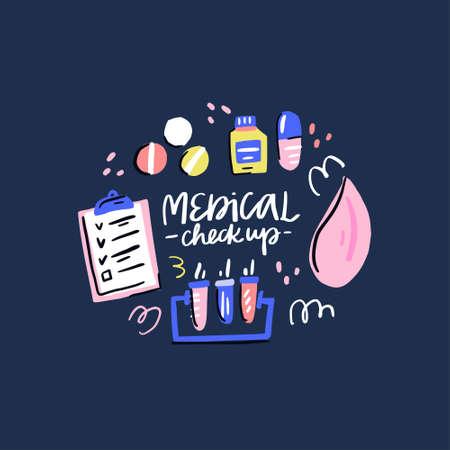Ilustración de Collection of medicines. Handdrawn medical checkup design. Vector illustration on white background. - Imagen libre de derechos