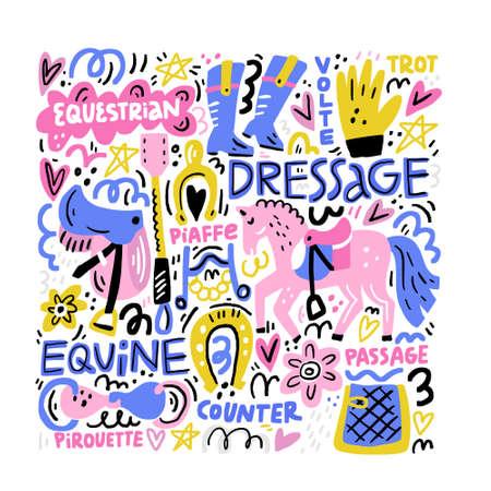Ilustración de Hand drawn vector illustration with symbols of dressage. Horse riding concept. - Imagen libre de derechos