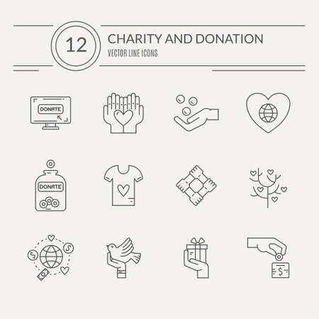 Ilustración de Charity and donation icons made in modern line style. Helping hand vector illustration. Vector symbols of fundraising, charity work, label for non-profit volunteer organization. - Imagen libre de derechos