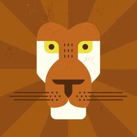 Illustration pour Graphical illustration of flat lion face - image libre de droit
