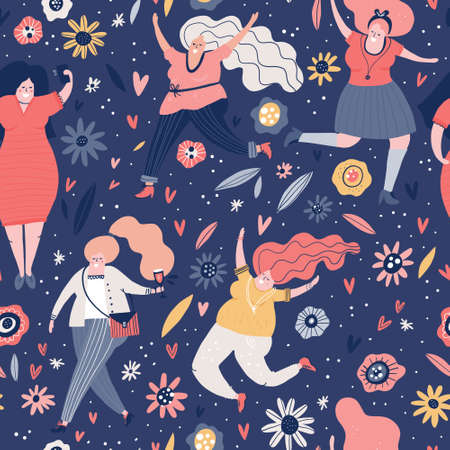 Ilustración de Seamless pattern with curvy woman. Background with different female characters. Plus size models vector illustration. - Imagen libre de derechos