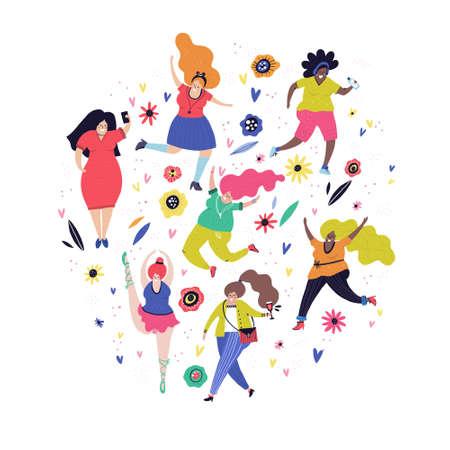 Ilustración de Body positivity concept - all bodies are good bodies. Vector illustration - group of plus size woman. - Imagen libre de derechos