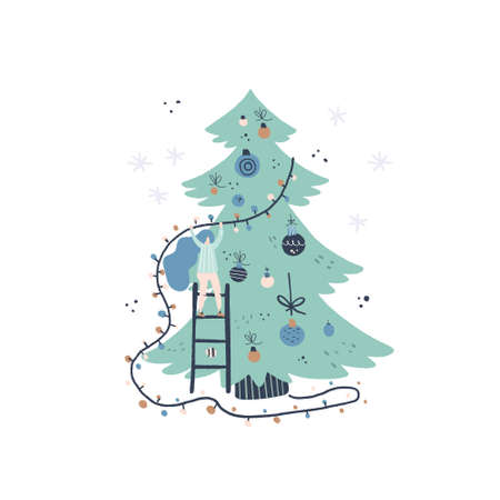 Illustration for Flat style vector illustration of Christmas concept. Girl and Christmas tree. Xmas or new year card design. - Royalty Free Image