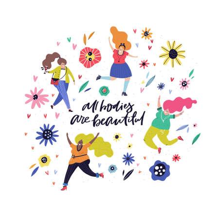 Ilustración de Diversity concept - different woman dancing, walking, running, drinking wine and sign all bodies are beautiful. - Imagen libre de derechos