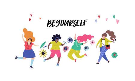 Ilustración de Group of woman dancing and jumpin and sign be yourself. Love your body concept. - Imagen libre de derechos