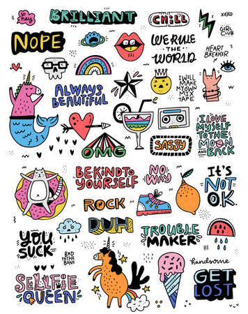 Illustration pour Collection of illustrations in cartoon style with lettering and fun illustrations - perfect for stickers and patches. Doodle set made in vector. - image libre de droit