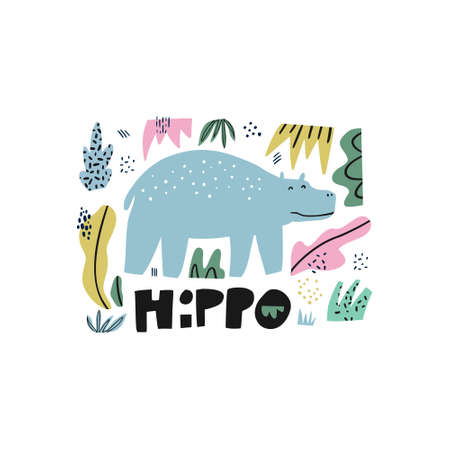 Illustration for Hippopotamus flat hand drawn illustration. Behemoth animal. Hippo cartoon character with lettering. Jungle, rainforest, savanna fauna clipart. Zoo, safari mammal. Travel postcard, kids book element - Royalty Free Image