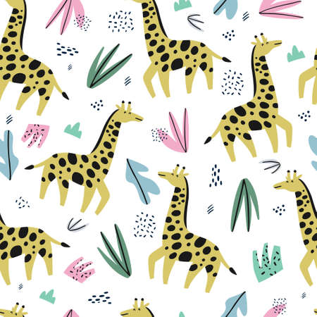 Illustration for Giraffe flat hand drawn color seamless pattern. Cute african animal cartoon character. Jungle, rainforest, savanna creature. Zoo, safari mammal.Wildlife wrapping paper, textile, background design - Royalty Free Image