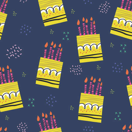 Illustration for Birthday cakes hand drawn seamless pattern. Anniversary desserts with burning candles ornament. Presents and gifts festive wrapping paper. Muffin, cupcake with confetti vector illustration - Royalty Free Image