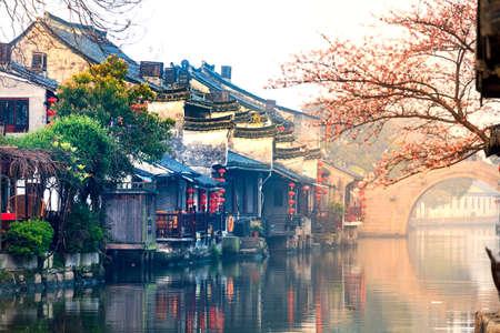 Photo for Xitang sunrise peach blossom Bridge - Royalty Free Image