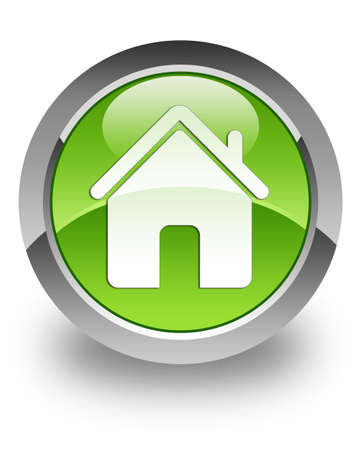 Home icon on green glossy button