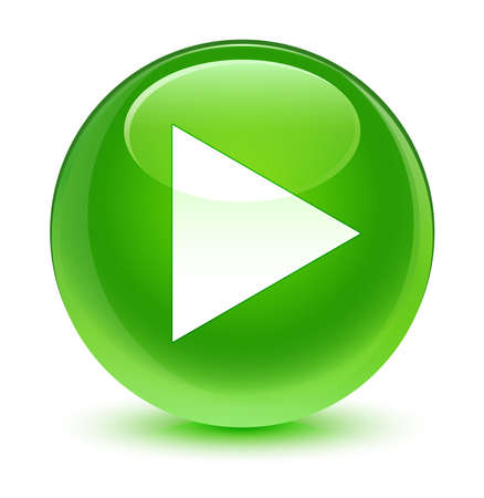 Photo pour Play icon glassy green button - image libre de droit