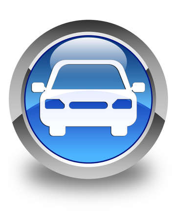 Photo for Car icon glossy blue round button - Royalty Free Image