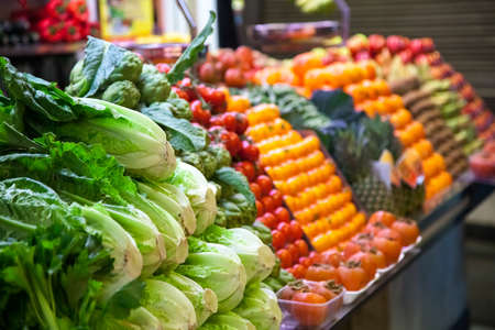Photo pour Marketplace with vegetables in Barcelona market, Spain - image libre de droit