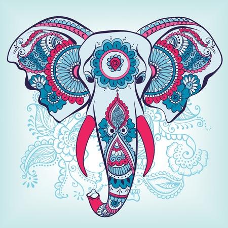 Illustration pour Vector Elephant on the Henna Indian Ornament - image libre de droit