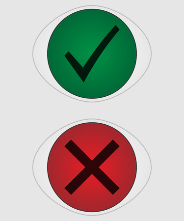 Illustration pour Tick ??mark and cross button. Green and red buttons. Elements of the interface. - image libre de droit