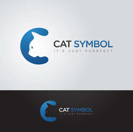 Simple and clever vector graphic Cat and C letter symbol with sample text