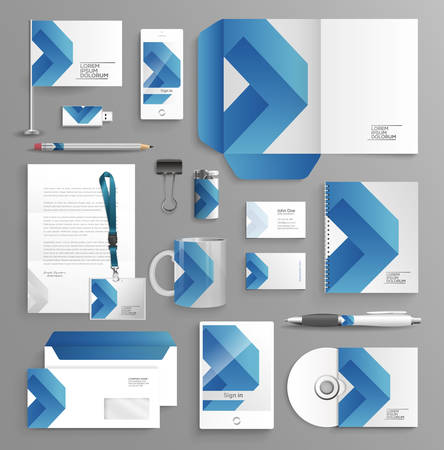 Ilustración de Corporate identity business set with different objects - Imagen libre de derechos