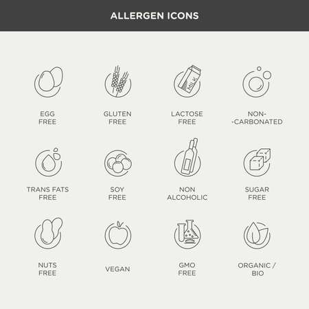 Illustration pour Vector graphic set of diet and food intolerance icons and labels in minimal and modern style - image libre de droit