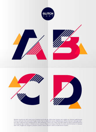 Ilustración de Typographic alphabet in a set. Contains vibrant colors and minimal design on a minimal abstract background - Imagen libre de derechos
