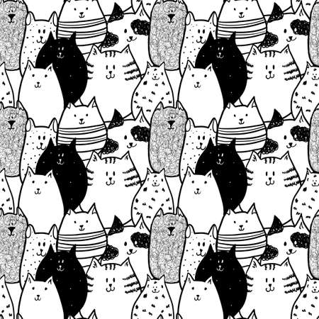 Doodle funny cats. Seamless pattern.