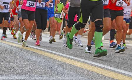 Photo pour many Athletes during the marathon - image libre de droit