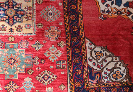 Photo for two colored carpets decorated in an islamic house - Royalty Free Image
