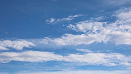 Photo for wide angle blue sky with white clouds in landscape format - Royalty Free Image