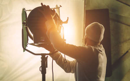 Foto per lighting equipment on the set close up - Immagine Royalty Free