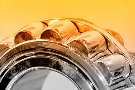 Foto de Industrial roller bearing on a light background. Red toning. Shallow depth of field, selective focus - Imagen libre de derechos