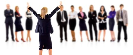 winning businesswoman and her team over white background